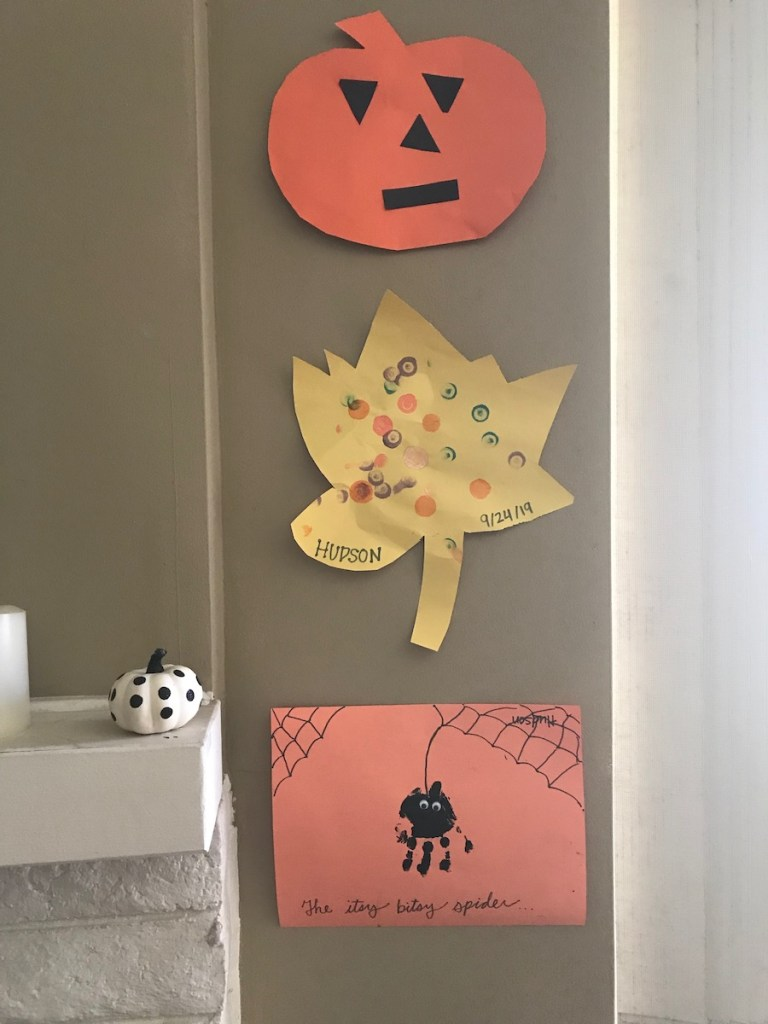 simple fall and halloween craft projects completed at home with a toddler