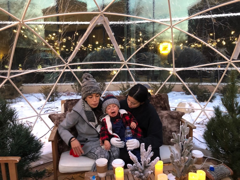 toddler crying in igloo in Minnesota