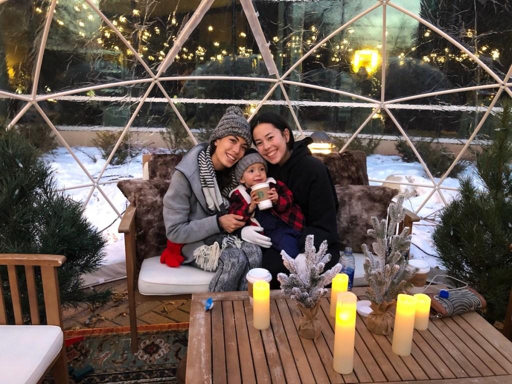 toddler happy in igloo in Minnesota