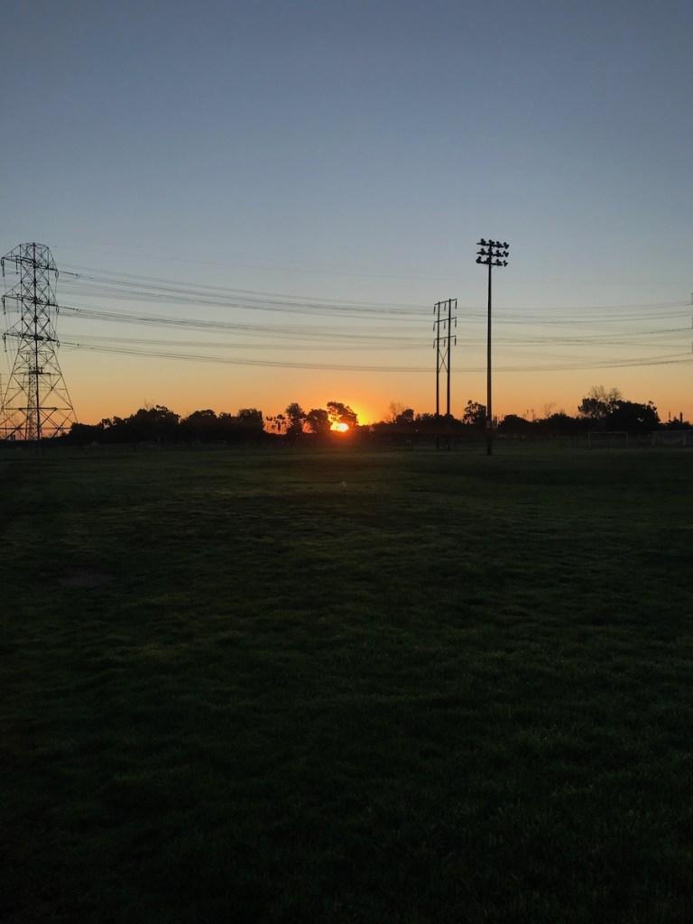sunrise at a park on morning run